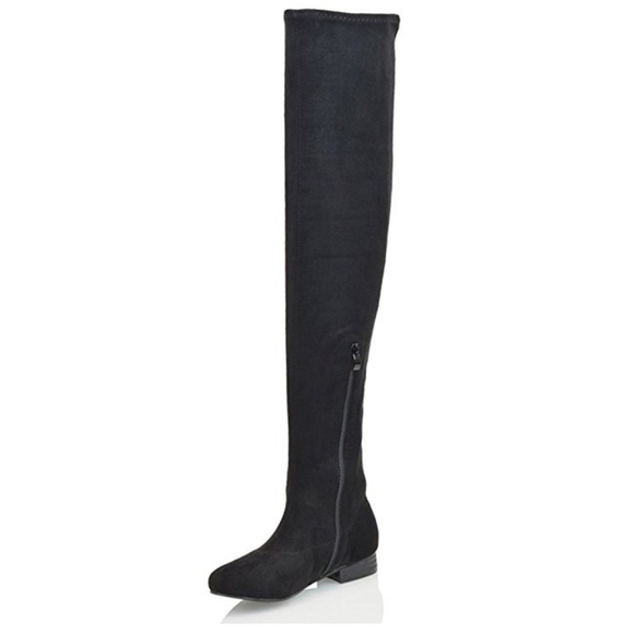 21aea045d5e Women's Stretch Thigh High Black Faux Suede Boots